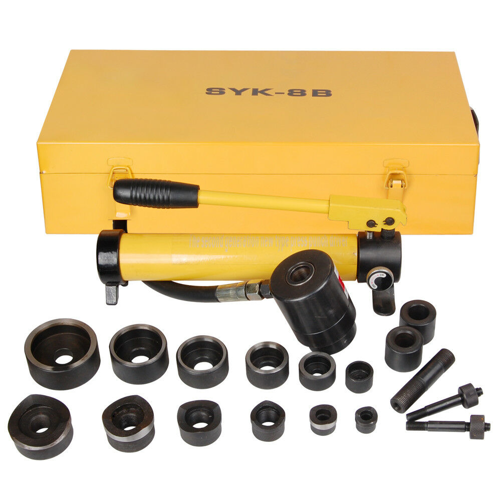 10T Hydraulic Knockout Punch Driver Kit 6Die Conduit 1/2to2H