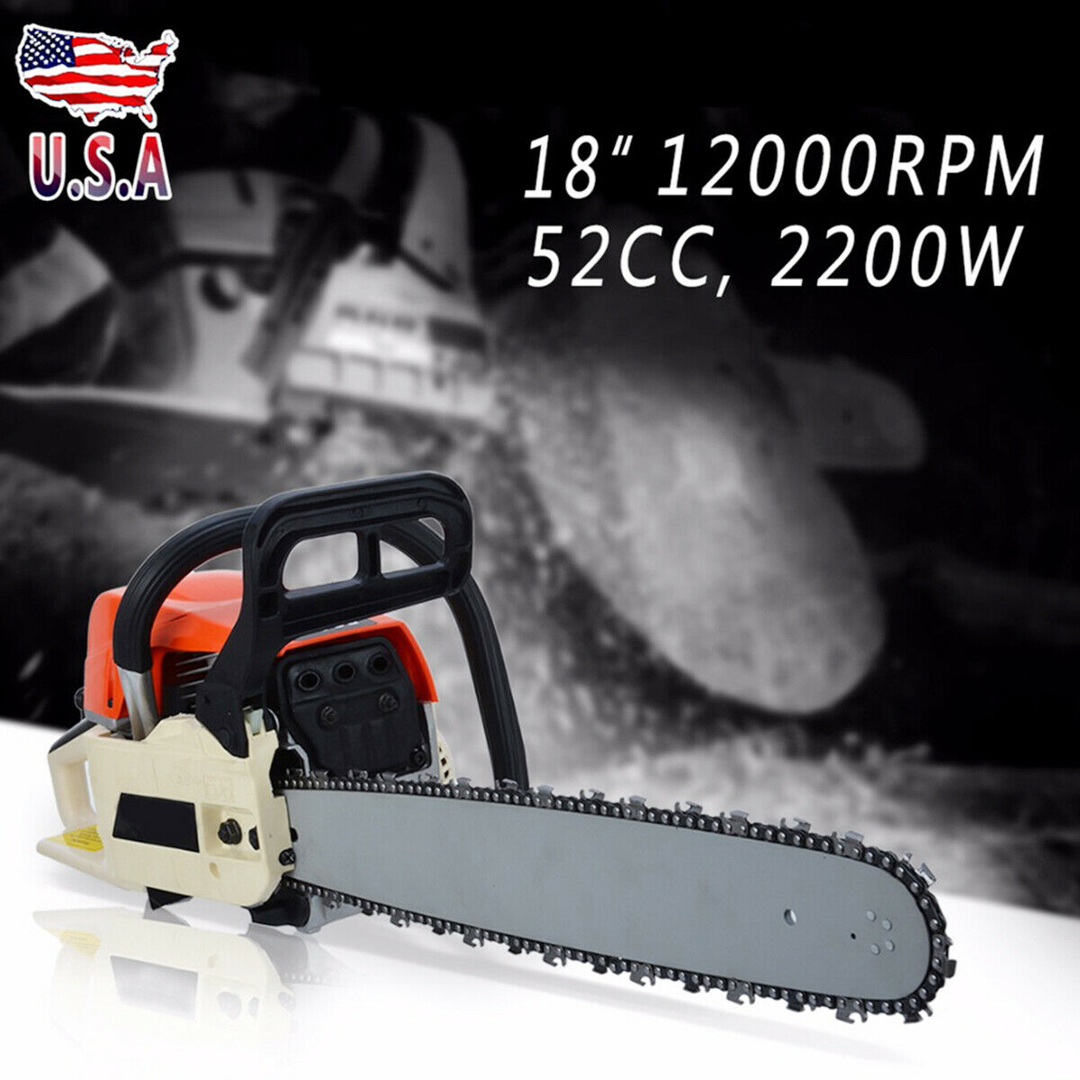 52 CC Gasoline Hand Chainsaw Outdoor Cutting Rear Handle Mes