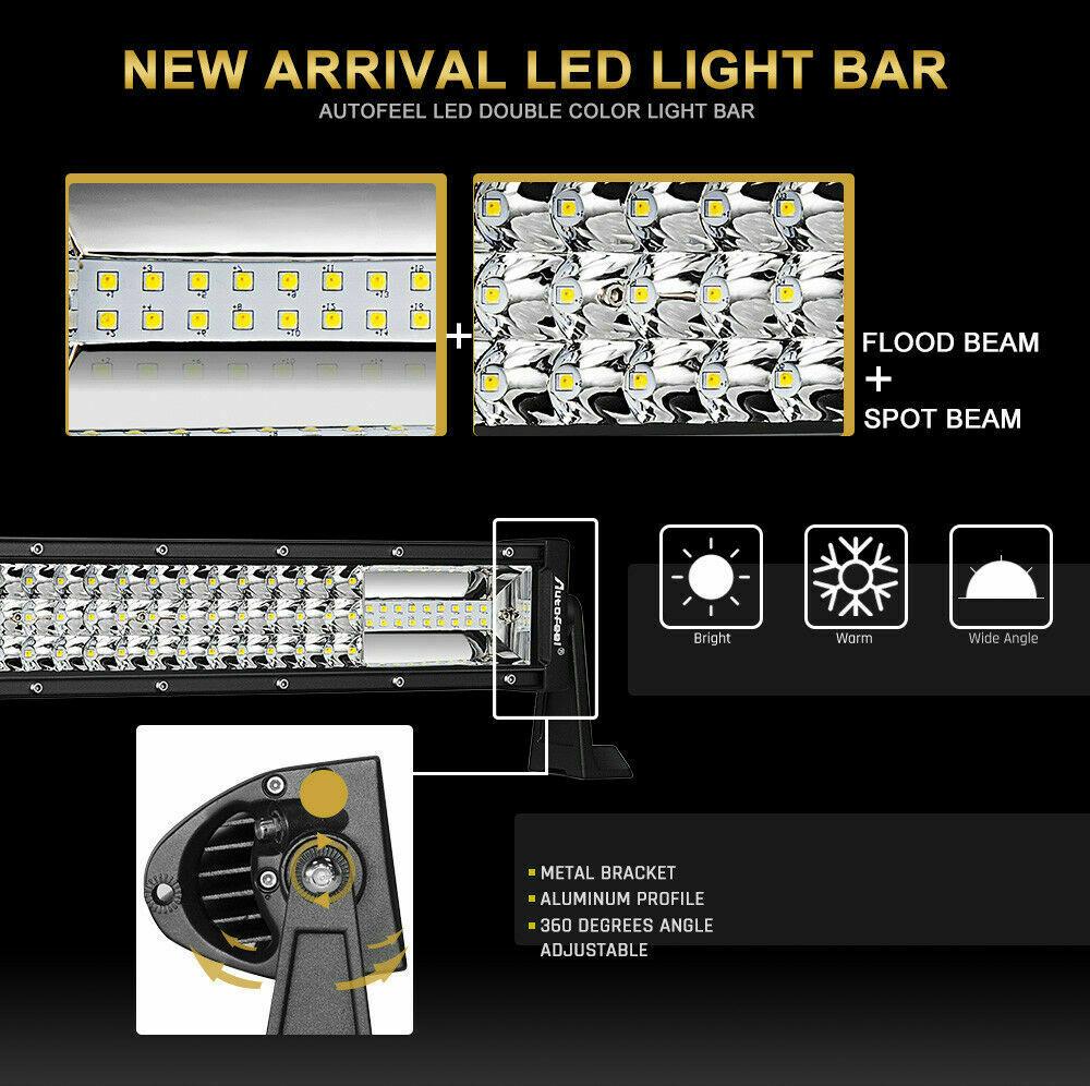 42Inch 42'' 3360W TRI- ROW LED Work Light Bar Combo Beam White Amber Fit K3A1J 11
