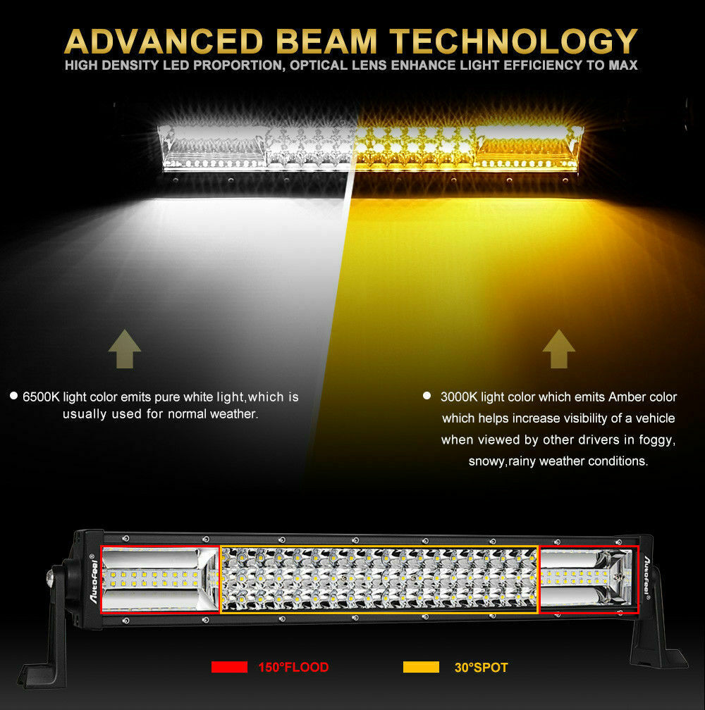 42Inch 42'' 3360W TRI- ROW LED Work Light Bar Combo Beam White Amber Fit K3A1J 10