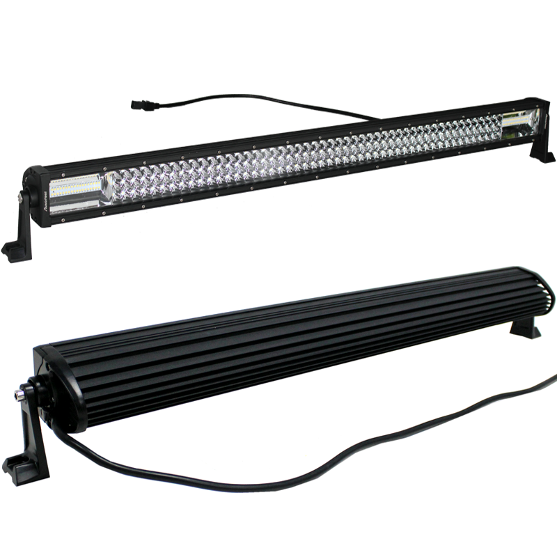 42Inch 42'' 3360W TRI- ROW LED Work Light Bar Combo Beam White Amber Fit K3A1J 3